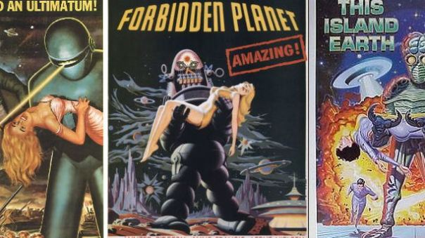 Montage of three sci-fi posters.