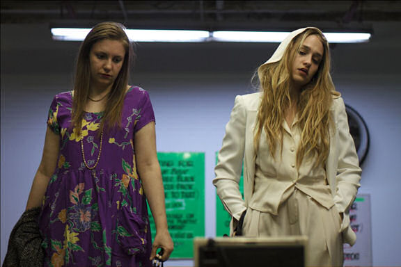 Lena Dunham as Aura and Jemima Kirke as Charlotte  Photo Credit: Joe Anderson.