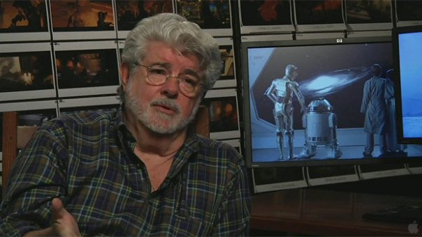 Film-making beefcake George Lucas, pictured here next to a still from some film.