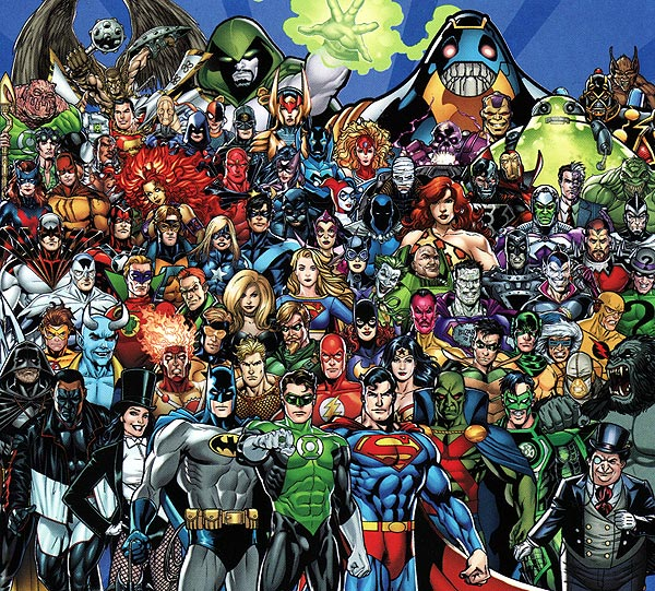 Drawing of all the DC Comics superheroes ever drawn...
