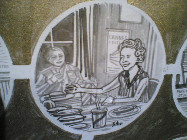 Detail from 'Adam Dant's Anecdotal History Of The BFI', a whimsical piece of art made to celebrate the BFI's 75th anniversary in 2008. This section apparently depicts the film critic Dilys Powell coming up with the idea of a London Film Festival at a dinner party in 1956. You can tell she's a film critic because of what's being served for dinner