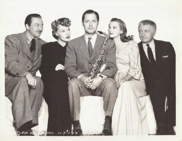 John Emery, Rita Johnson, John Montgomery, Evelyn Keyes and Claude Rains in a publicity shot for Here Comes Mr. Jordan