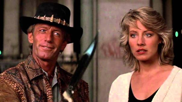 Paul Hogan and Linda Kozlovski in Crocodile Dundee